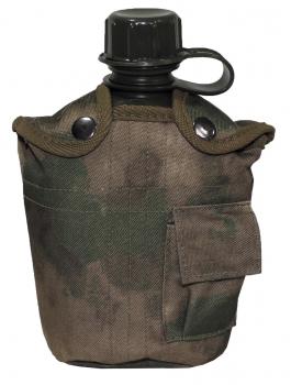 MFH US Plastikfeldflasche, 1 l,Hülle, HDT-camo FG, BPA-frei