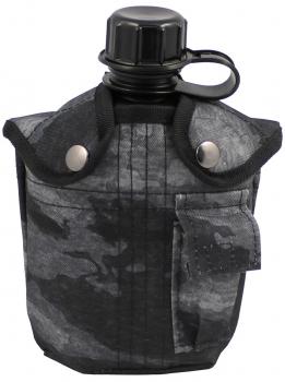 MFH US Plastikfeldflasche, 1 l,Hülle, HDT-camo LE, BPA-frei