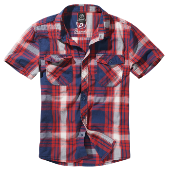 Brandit Roadstar Shirt, 1/2 sleeve red-navy-white S